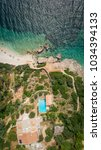 Small photo of ITHACA ISLAND, GREECE - 7 August 2017 : Aerial view of a resort on island Ithaca.