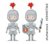 cute medieval knight mascot... | Shutterstock .eps vector #1034407363