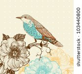 vector illustration of a bird and blooming flowers in a vintage style - stock vector