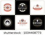 happy birthday greeting cards... | Shutterstock .eps vector #1034408773