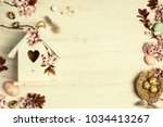 easter composition with little... | Shutterstock . vector #1034413267