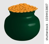 large green pot with gold coins ... | Shutterstock .eps vector #1034413807
