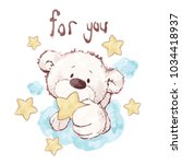 cute bear holding star ...   Shutterstock .eps vector #1034418937
