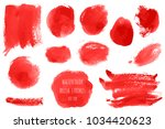 vector set of bloody red  pink... | Shutterstock .eps vector #1034420623