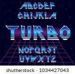 alphabet 80's retro font.vector ...   Shutterstock .eps vector #1034427043