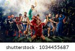 successful football  soccer ... | Shutterstock . vector #1034455687