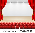 theater stage with red curtain  ... | Shutterstock .eps vector #1034468257
