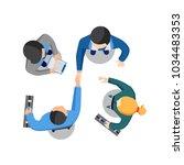 two businessmen shaking hands...   Shutterstock .eps vector #1034483353