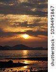 beautiful sunset of korea... | Shutterstock . vector #1034491867