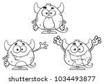 black and white monster cartoon ... | Shutterstock .eps vector #1034493877