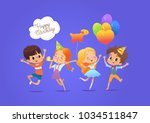 happy kids with the balloons... | Shutterstock .eps vector #1034511847