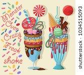 two giant milkshakes with... | Shutterstock .eps vector #1034515093