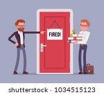 fired office worker and boss.... | Shutterstock .eps vector #1034515123