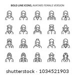female avatars  bold line icons.... | Shutterstock .eps vector #1034521903