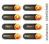 set of cryptocurrencies with... | Shutterstock .eps vector #1034525683