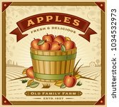retro apple harvest label with... | Shutterstock . vector #1034532973