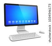 desktop pc computer with large... | Shutterstock . vector #1034546173