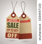 cardboard price tag or sale... | Shutterstock .eps vector #1034547133