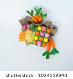 easter holiday. easter eggs and ... | Shutterstock . vector #1034559343