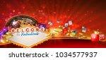 casino games banner design with ... | Shutterstock . vector #1034577937