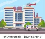 the ambulance opposite the of...   Shutterstock .eps vector #1034587843