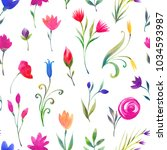 floral watercolor seamless... | Shutterstock . vector #1034593987