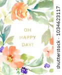 watercolour flowers card with... | Shutterstock . vector #1034623117