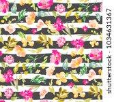 pink watercolor flowers... | Shutterstock . vector #1034631367