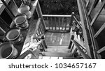 wooden stairs decorated with... | Shutterstock . vector #1034657167