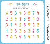 circle every number three.... | Shutterstock .eps vector #1034659153
