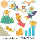 vector set of bitcoin ups and... | Shutterstock .eps vector #1034662843