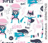 super hero girls. hand drawn... | Shutterstock .eps vector #1034677423