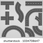 set of roads and road bends.... | Shutterstock .eps vector #1034708647