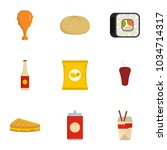 consume icons set. flat set of... | Shutterstock .eps vector #1034714317