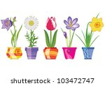spring flowers in pots ... | Shutterstock .eps vector #103472747
