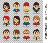 flat graphic people icons. set... | Shutterstock .eps vector #1034748553