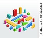 colorful wooden unit blocks  ... | Shutterstock .eps vector #1034764873
