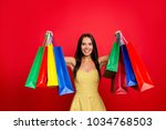 portrait of cheerful charming... | Shutterstock . vector #1034768503