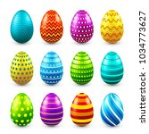 easter eggs colored set. spring.... | Shutterstock .eps vector #1034773627