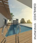 sea view swimming pool in... | Shutterstock . vector #1034784853