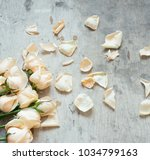 Stock photo roses and petals on a wooden background 1034799163