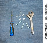 Small photo of Everything for DIY repair: screwdriver, Allen wrench, bolts, hycomine