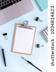 home office desk with wooden...   Shutterstock . vector #1034814823