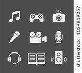 media flat vector icons set.... | Shutterstock .eps vector #1034819257