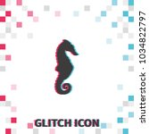 sea horse  glitch effect vector ... | Shutterstock .eps vector #1034822797
