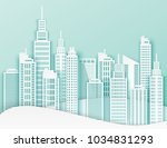 white paper skyscrapers.... | Shutterstock .eps vector #1034831293
