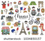 vector set with hand drawn... | Shutterstock .eps vector #1034850157