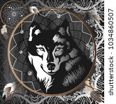 graphic wolf in the center of... | Shutterstock .eps vector #1034860507