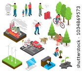 ecology isometric set with... | Shutterstock .eps vector #1034869573
