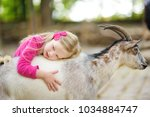 cute little girl petting and... | Shutterstock . vector #1034884747
